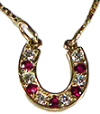 JM7584RD Ruby and Diamond Horseshoe Necklace