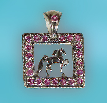 Gaiting Horse in Frame Pendant - Sterling Silver with Pink CZs