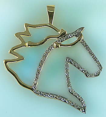 Gaited Horse Head Silhouette with Diamonds