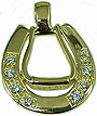 Horseshoe and Western Stirrup Pendant - 14kt Yellow Gold with Diamonds