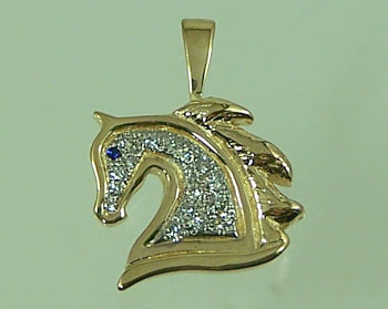 JET3989DS Arabian Horse Head Diamond Pendant