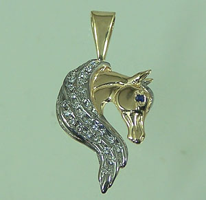 JET3891D Arabian Horse Head_Diamond Pendant