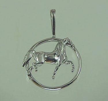 JET3291SS National Show Horse In Circle Pendant