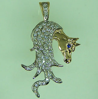 JET3888A Diamond Filled Arabian Head Pendant