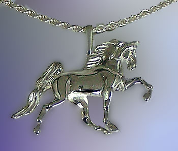 JET3658SS Sterling Silver Tennessee Walking Horse Pendant