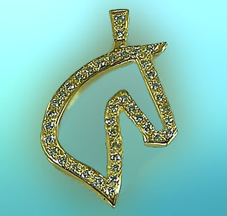 Diamond Filled 3-Gaited Silhouette Head - 14kt Yellow Gold