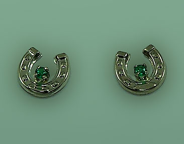 M7000_WGE Small Horseshoe with Emeralds Earrings