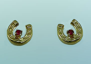 M7000 _R Small Horseshoe Earrings with Rubies
