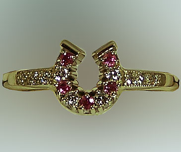 JM616DPS Horseshoe Diamond and Pink Sapphires