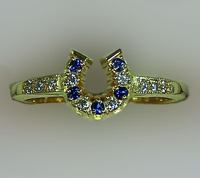 JM616DS Horseshoe Diamond and Sapphire Ring