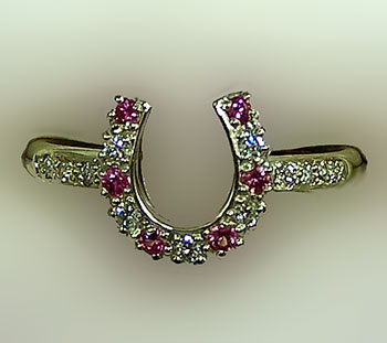 JM613DPS Horseshoe Diamond and Pink Sappire Ring