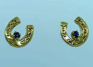 JMS3595_SER 14kt Yellow Gold Small Horseshoe Earrings with Sapphires