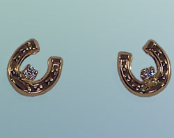 M7000_D Small Horseshoe with Diamonds Earrings