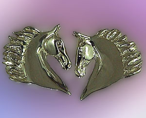 JET3578WG 14kt White Gold Saddlebred Horse Head Earrings