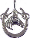 M5758SS Quarter Horse Head in Horseshoe Pendant