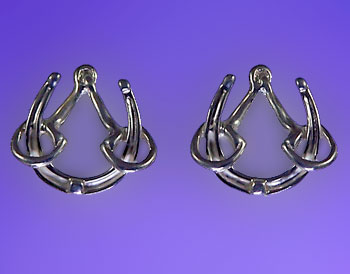 M2404ERSS Sterling Silver Horseshoe and Bit Earrings
