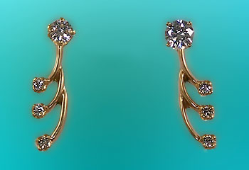 M782M Diamond Fashion Jacket Earrings