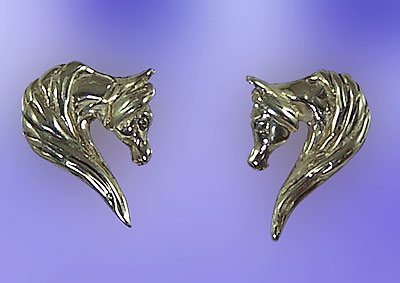 JET3232ERSS Arabian Horse Head Earrings