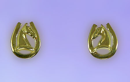 JET3331_JET5677ER Horse Head on Horseshoe Earrings