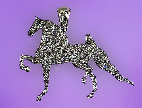 JET7360D All Diamond All American Saddlebred Pendant