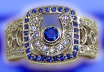 JM516 Horsehoe Diamond and Sapphire Fashion Ring