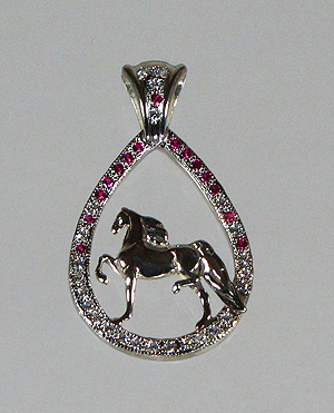 Saddlebred  Teardrop Pendant - Sterling Silver