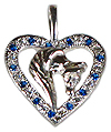 JET3232HSCZ Horse Head Pendant in Heart