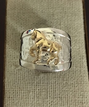 Hammered Band with 14kt Yellow Gold Draft Horse Ring