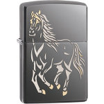 JMZ28645 Zippo® Running Horse Black Ice® Lighter