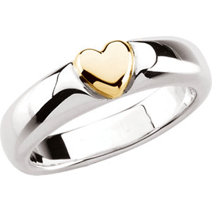 JS5859 Sterling Silver & 14kt Yellow Heart Ring