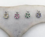 M616SSCZSYN Sterling Silver Horseshoe Set with CZ and Synthetic Colored Stones