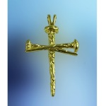 M2144 14kt Yellow Gold Horseshoe Nail Cross