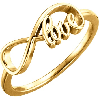 JS51380 14kt Yellow Gold Infinity Love Ring