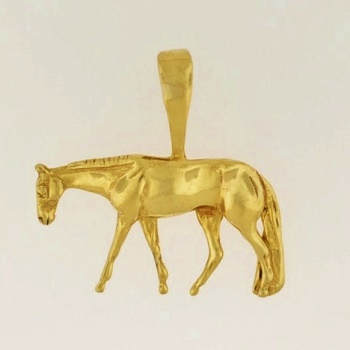 JET3967 14kt Yellow Gold Quarter Horse Pendant