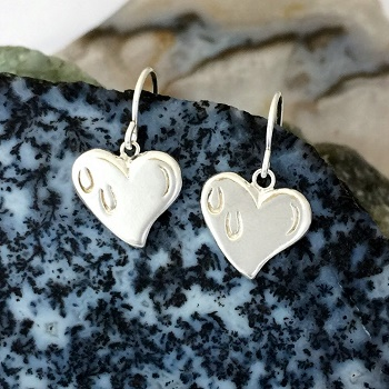 JM609SSERFW Sterling Silver French Wire Hoof Prints on the Heart Earrings