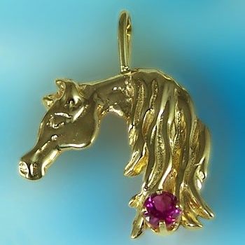 B1712PT 14kt Yellow Gold Arabian Horse Head Pendant with Pink Tourmaline