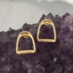 M812ER 14kt Yellow Gold English Stirrup Earrings