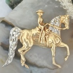 JET3129D 14kt Yellow Gold and Diamond Saddlebred Western Pleasure Pendant