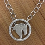 JM785SSN Sterling Silver Horse Head Silhouette Necklace