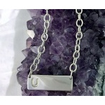 JM802SSN Sterling Silver Bar Necklace with Stamped Horseshoe