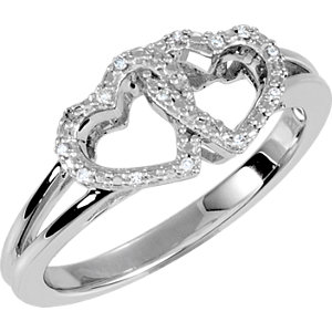 650082SS Diamond Double Heart Design Ring