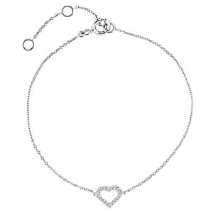 68636 14kt White .06 CTW Diamond Heart 7""