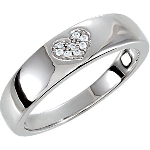 JS69920SS Sterling Silver Cubic Zirconia Heart Ring