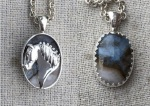 JET3705SSGPA Sterling Silver Draft Horse Head set on Graveyard Plume Agate