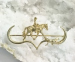 Hunt Horse with Rider and Hound Pin - 14kt Yellow Gold