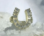 Diamond Horseshoe Ring - 14kt Yellow Gold