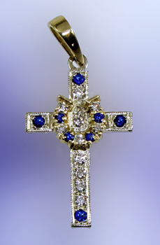 JM001 Sapphire and Diamond Cross
