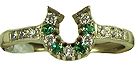 JM616DEWG Horseshoe Diamond and Emeralds