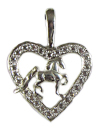 JET4021_4022SS Saddlebred in Heart CZ Pendant