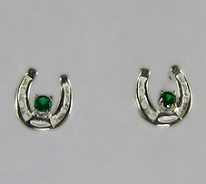 M2017ASSECZ Sterling Silver Horseshoe Earrings set with Green CZs